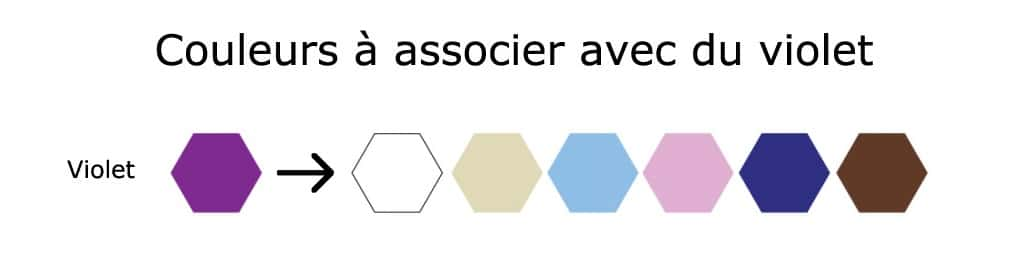couleur pour associer avec du violet